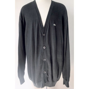 Men's Lacoste Black Cotton Piqué Cardigan EUC